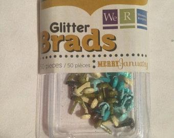 We R Memory Keepers Brand --  Mini Glitter Brads  --  50 pieces  --   Merry January  --  NEW  --   (#1323)