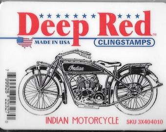 Deep Red Cling Stamps --  Indian Motorcycle  -- NEW -- (#2425)