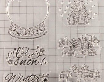 Christmas Stamp Set --  NEW  --   (#3277)  --  Snow globes