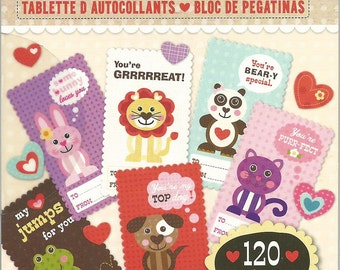K&Company --  Sticker Pad  --  Ka-Zoo To From Sticker Pad -- NEW -- Valentine Cards  --    (#859)