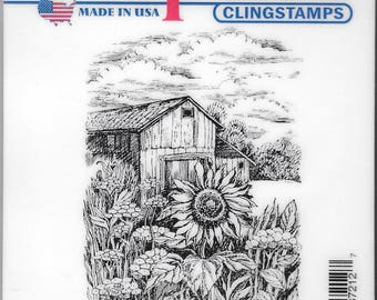Deep Red Cling Stamps -- Harvest Sunflower  -- NEW -- (#2485)
