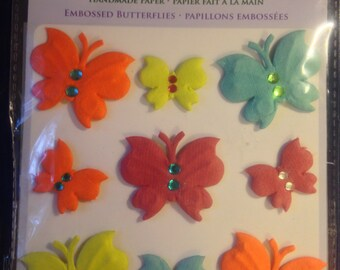 Forever In Time Brand --  Handmade Paper Embossed Butterflies  --  Dimensional Butterflies  -- NEW --  (#1020)