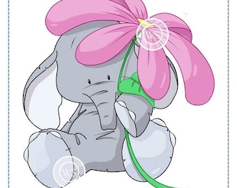 Whimsy Stamps -- Elephant with Flower -- NEW  -- (#2336)