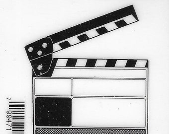 Deep Red Cling Stamps --    Movie Clapper    -- NEW -- (#3803)