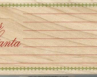 Dear Santa Letter Stamp -- NEW -- Wood Mounted Rubber Stamp --  Inkadinkado --  (#658)