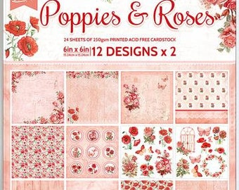 6 x 6 Paper Pad ~ Poppies & Roses ~ Double sided ~ NEW (#3750)