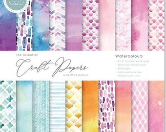 6 x 6 Paper Pad ~ Watercolours ~ Double sided  - NEW (#4155)