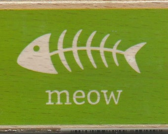 Meow Stamp --   NEW  -- Wood Mounted Rubber Stamp --  Studio G/Hampton Arts Brand --   (#1188)