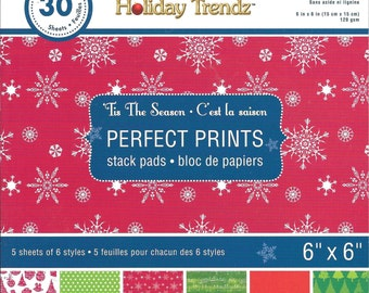 6 x 6  Paper Pad  ~~ Tis The Season  ~~  Holiday Trendz Brand  --  NEW  (#1840)