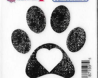 Deep Red Cling Stamps --  Pawprint  -- NEW -- (#3223)