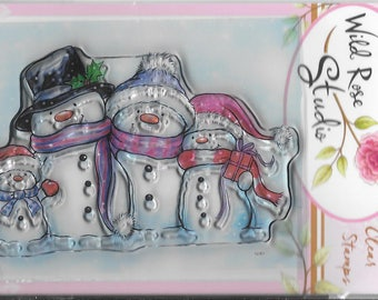 Wild Rose Studio Clear Stamp   --  NEW -- Snowmen   --  (#2289)