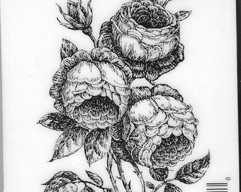 Deep Red Cling Stamps -- English Roses  -- NEW -- (#2956)