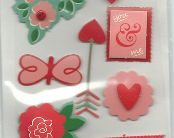 Pebbles --  Valentine Dimensional stickers  -- NEW --    (#1026)