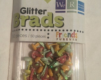 We R Memory Keepers Brand --  Mini Glitter Brads  --  50 pieces  --  Friends Furever  --  NEW  -- (#1333)
