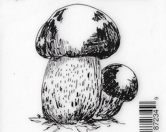Deep Red Cling Stamps --   Porcini Mushrooms    -- NEW -- (#3406)
