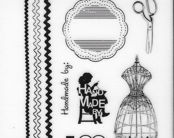 Deep Red Cling Stamps --   Sewing Handmade   -- NEW -- (#3878)