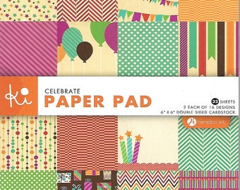 6 x 6  Paper Pad  ~~  Celebrations  ~~   Double sided paper  ~~  NEW  (#1520)