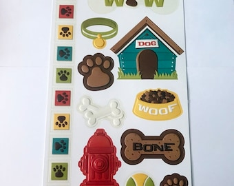Embossed Stickers  - NEW (#2991) -  dog  --  puppy