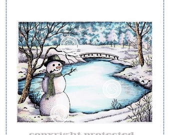 Whimsy Stamps --  Winter Lake  -- NEW  -- (#2904)