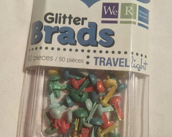 We R Memory Keepers Brand --  Mini Glitter Brads  --  50 pieces  --  Travel Light  --  NEW  --   (#1325)