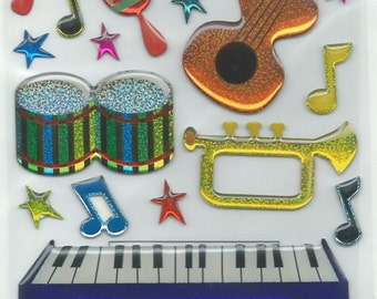 EK Success  --  Musical Instruments  --  32 pieces --  self adhesive stickers  --   NEW  --  (#1214)
