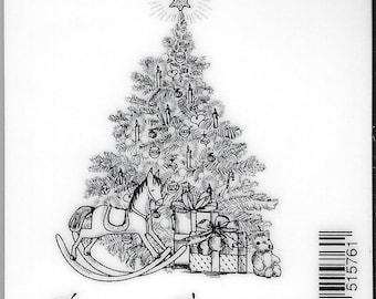 Deep Red Cling Stamps --   Seasons Greeting Tree -- NEW -- (#2492)