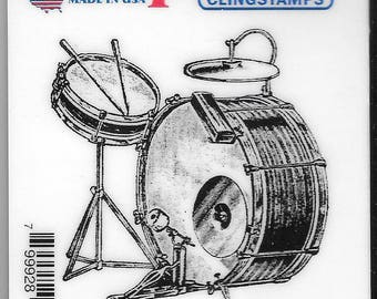 Deep Red Cling Stamps -- Drum Set  -- NEW -- (#2428)