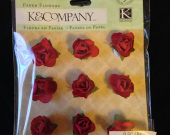 NEW  --  K & Company Brand --  9 pieces  -- Paper Roses (red)  --   (#1619)