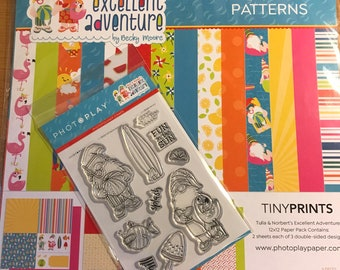 12 x 12 paper and stamp combo ~   Tulla & Norbert's Excellent Adventure ~      NEW  (#4228)