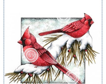 Whimsy Stamps -- Winter Cardinals  -- NEW  -- (#2855)