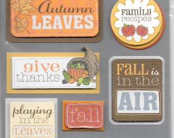 K & Company LLO  -- Fall Words --  NEW --  dimensional stickers  (#1706)