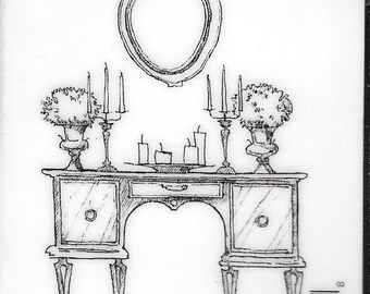 Deep Red Cling Stamps --  Antique Dressing Table  -- NEW -- (#2953)
