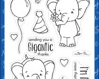 Whimsy Stamps --   Sketched Elephants -- NEW  -- (#3592)