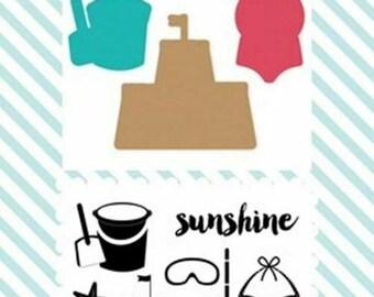 Echo Park - Summer Sunshine Die and Stamp set    -  NEW  (#3729)