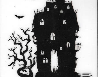 Deep Red Cling Stamps -- Haunted House  -- NEW -- (#2484)