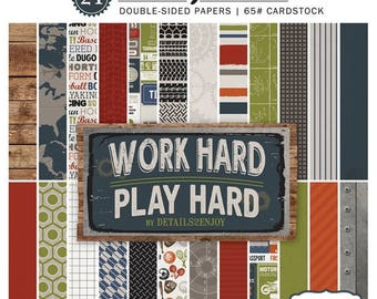 6 x 6 Paper Pad ~ Work Hard Play Hard ~ Double sided  NEW  (#2562)