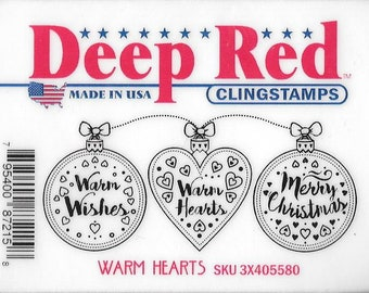 Deep Red Cling Stamps --  Warm Hearts -- NEW -- (#2933)