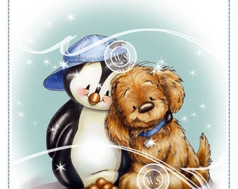 Whimsy Stamps --  Penguin and Pup-- NEW  -- (#2710)