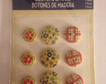 Little Yellow Bicycle Brand  --  Buttons --  12 pieces   NEW  --   (#948)