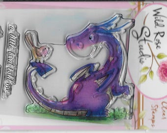 Wild Rose Studio Clear Stamp -- NEW -- Dragon and Bird -- (#2152)
