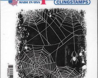 Deep Red Cling Stamps -- Spider Web Background  -- NEW -- (#2787)