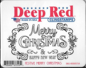 Deep Red Cling Stamps --  Festive Merry Christmas -- NEW -- (#2929)