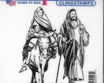 Deep Red Cling Stamps --   Holy Family  -- NEW -- (#3463)