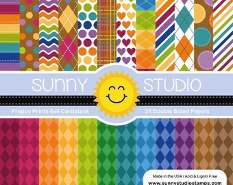 6 x 6 Paper Pad ~  Sunny Studios  ~ Preppy Prints ~ Double sided NEW (#3160)