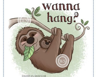 Whimsy Stamps --  Hangin' Sloth -- NEW  -- (#2693)