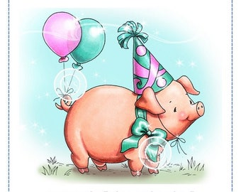 Whimsy Stamps -- Party Pig  -- NEW -- (#2342)