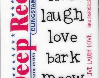 Deep Red Cling Stamps --   Live Laugh Love   -- NEW -- (#3817)