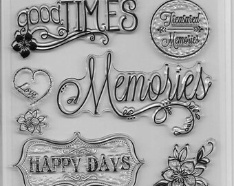 Forever In Time Clear Acrylic Stamp Set  --  NEW -- Making Memories (#2407)