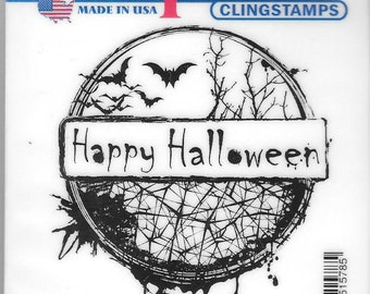 Deep Red Cling Stamps --  Happy Halloween -- NEW -- (#2823)