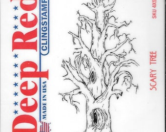 Deep Red Cling Stamps --  Scary Tree -- NEW -- (#2936)